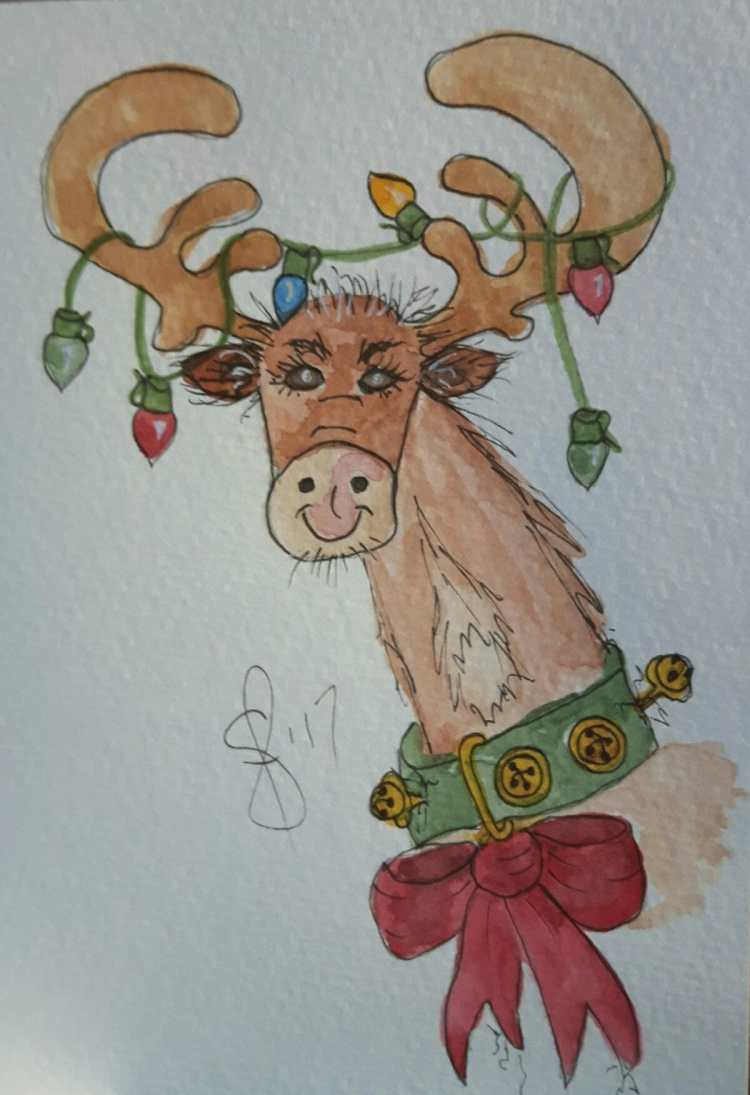 Time to Decorate? A silly reindeer card. Artist Susan Feniak. QOR water colour on Strathmore card st