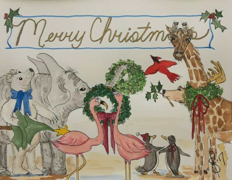All my feathered and furry friends have something to say, and that is, Merry Christmas! Artist Susan