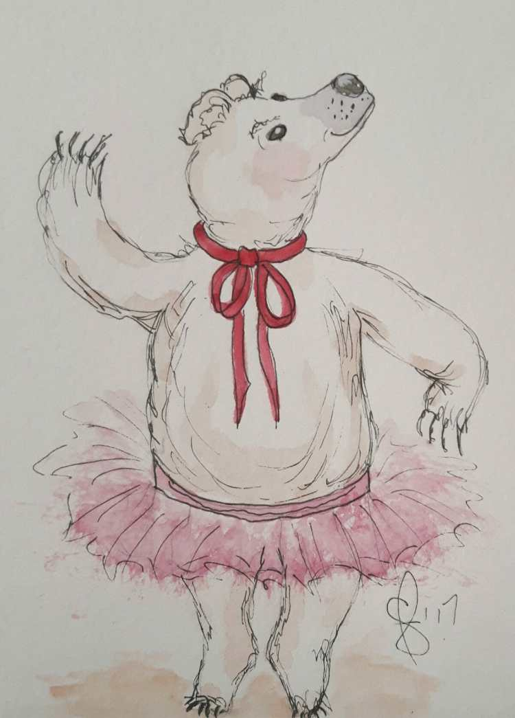 Pricilla the prancing polar bear. A birthday card for someone. Artist Susan Feniak. QOR watercolour