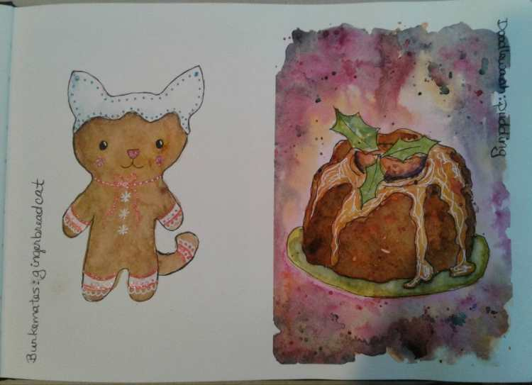 Day 161…pudding and gingerbread cat. Being as the prompts for this month are holiday themed, t