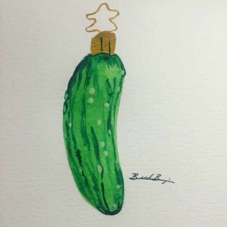Day 17 – Ornaments – Christmas Pickle. Some traditions say if you find the hidden pickle