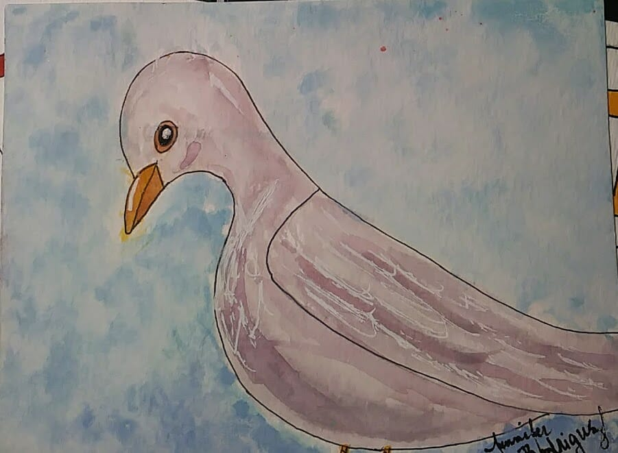 #worldwatercolorgroup day 8 Dove- Sometime you just have to let the paint do what it wants =D 8dove