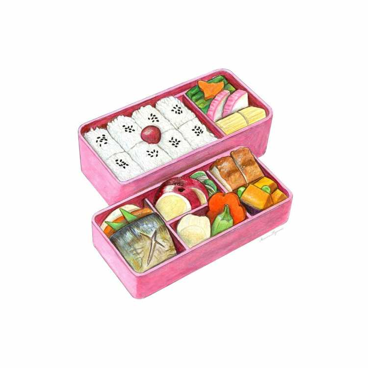 Mixed media illustrations of Japanese food and products. BENTO_copyright_150DPIBUNASHIMEJI_copyright