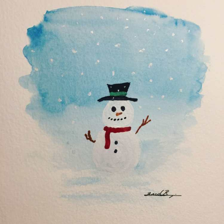 Day 14 – Snowman – One of my favorites! #worldwatercolorgroup #snowman D2B607AC-190A-430