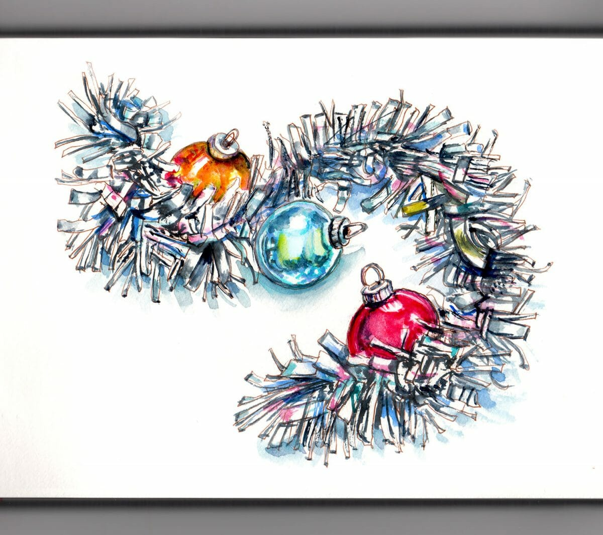 #WorldWatercolorGroup - Day 13 - All That Glitters Christmas Tinsel and Ornaments - Doodlewash