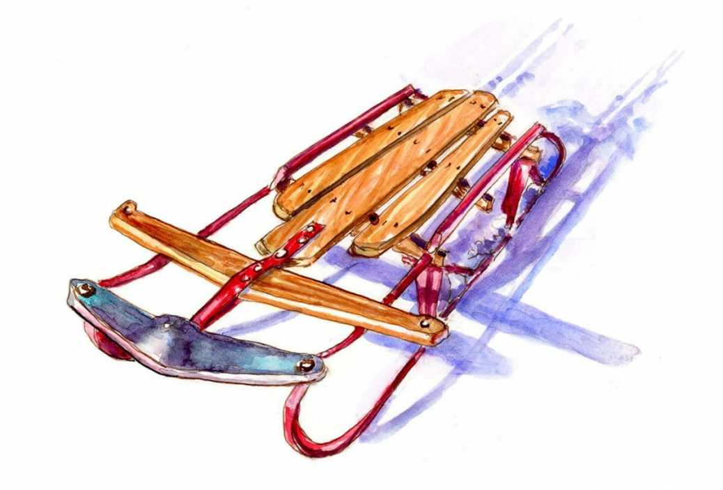 #WorldWatercolorGroup - Day 27 - Vintage Flyer Sled - Doodlewash