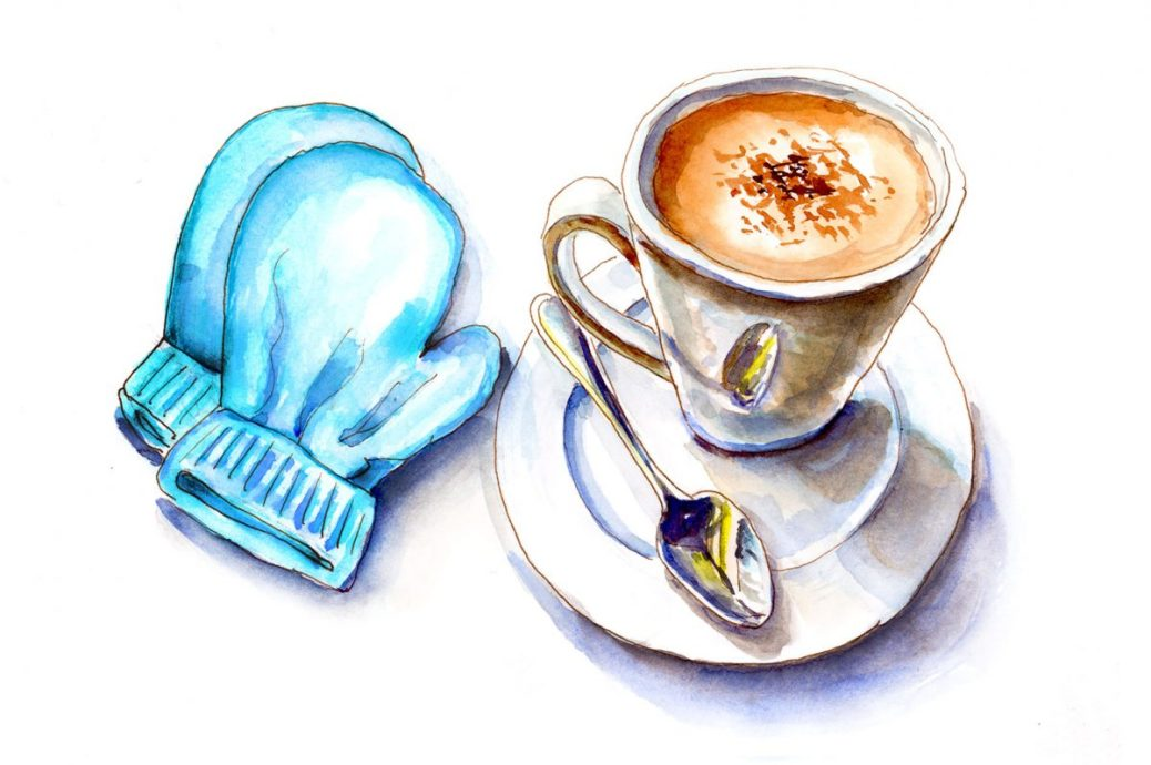 #WorldWatercolorGroup - Day 29 - Mittens & Cocoa - Doodlewash