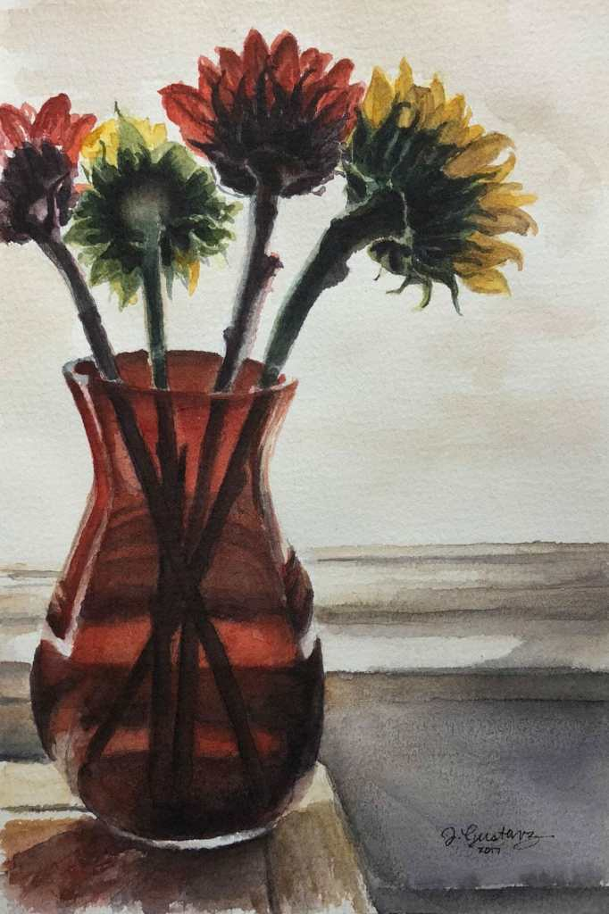Sunflowers in a Red Vase No2 Floral_SunflowersInRedGlassVase5x8_WC
