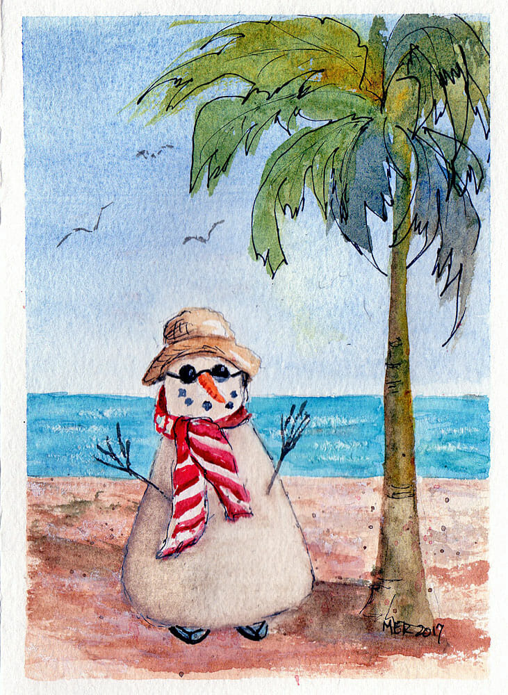 Florida Snowman…another Christmas card for a Northern friend. Florida Snowman img228 Nancy