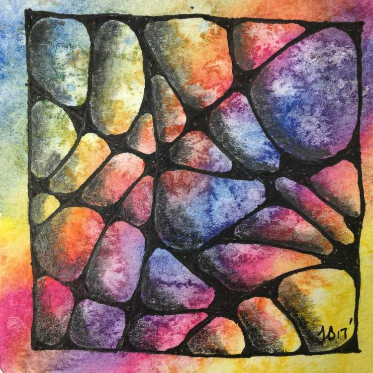 A tangle of stones on a watercolor background that I used salt on for texture. I think it really wor