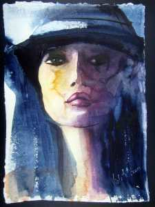 Portrait of a Girl with a Hat, watercolor painting on Khadi 640 gsm paper, acid-free, handmade paper