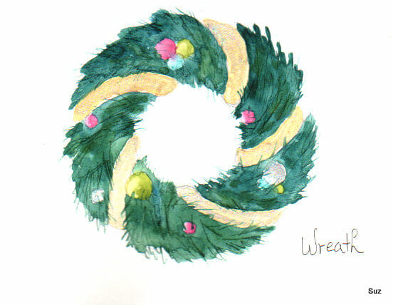 #WorldWatercolorGroup December Challenge Day 11: Wreath I used a little acrylic metallic paint for s