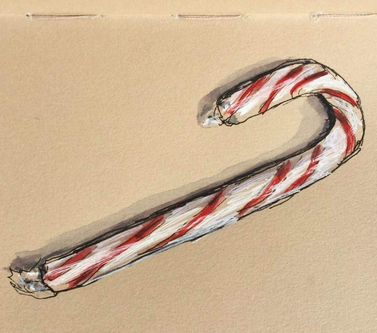 #WorldWatercolorGroup - Day 1 - Candy Canes - Doodlewash