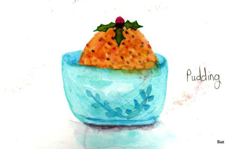 #WorldWatercolorGroup December Challenge Day 9: Pudding I've never had a figgy pudding, but I