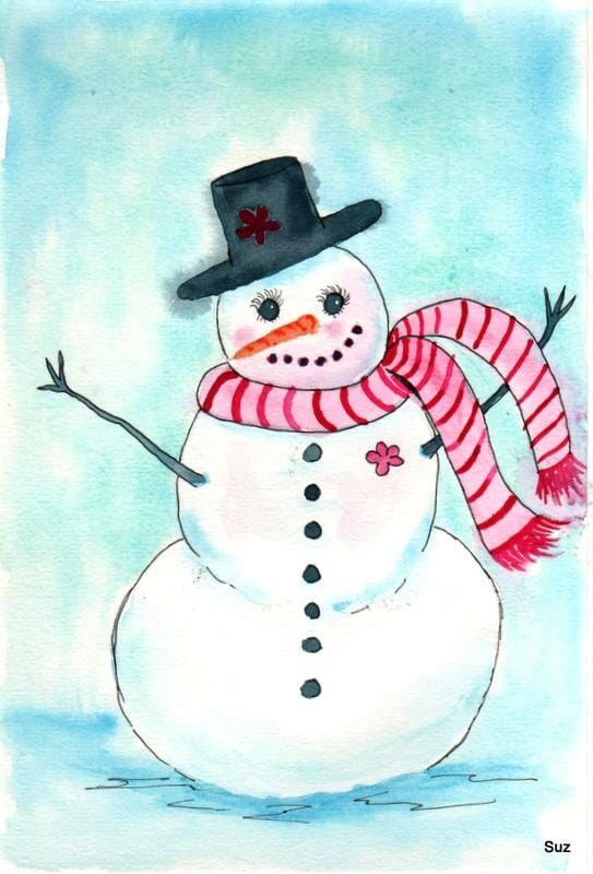 #WorldWatercolorGroup December Challenge Day 14: Snowman I decided to make a snowlady instead of a s