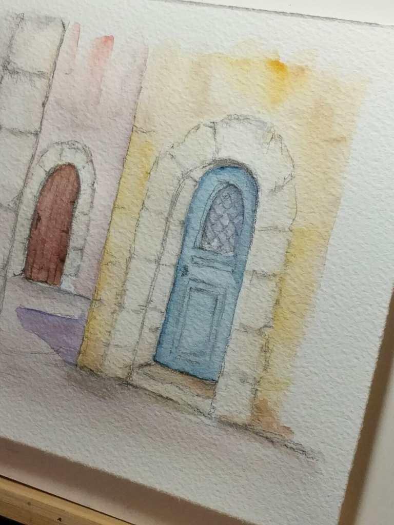 yellow wall-blue door