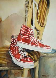 My red Vans. W/C on Arches 140 lbs 11X14. 20161125_165857