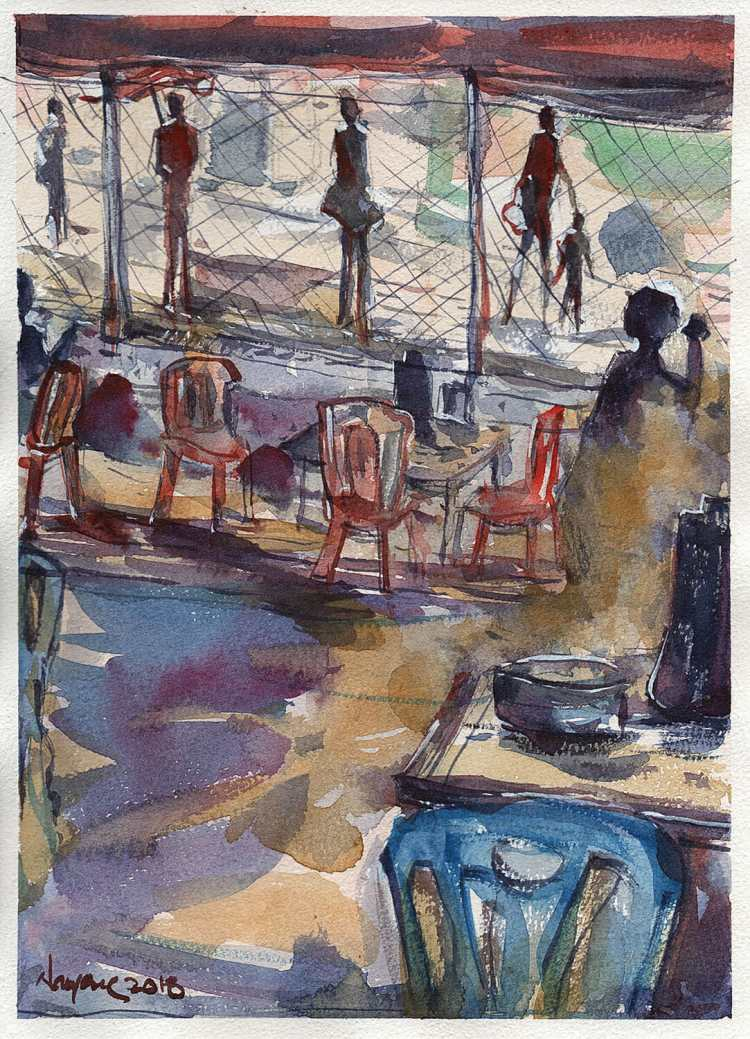 Tea Time This weekend painting. It is a place where we used to sit and gaze the highway during our p