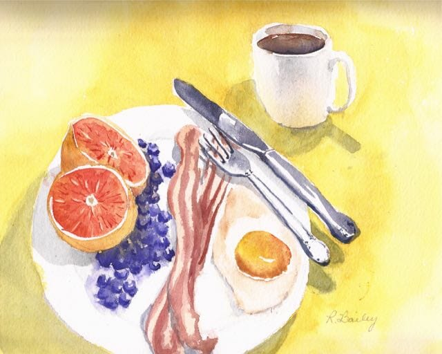 Breakfast, or second breakfast, because I cooked a second one to paint after I ate the first one! Br