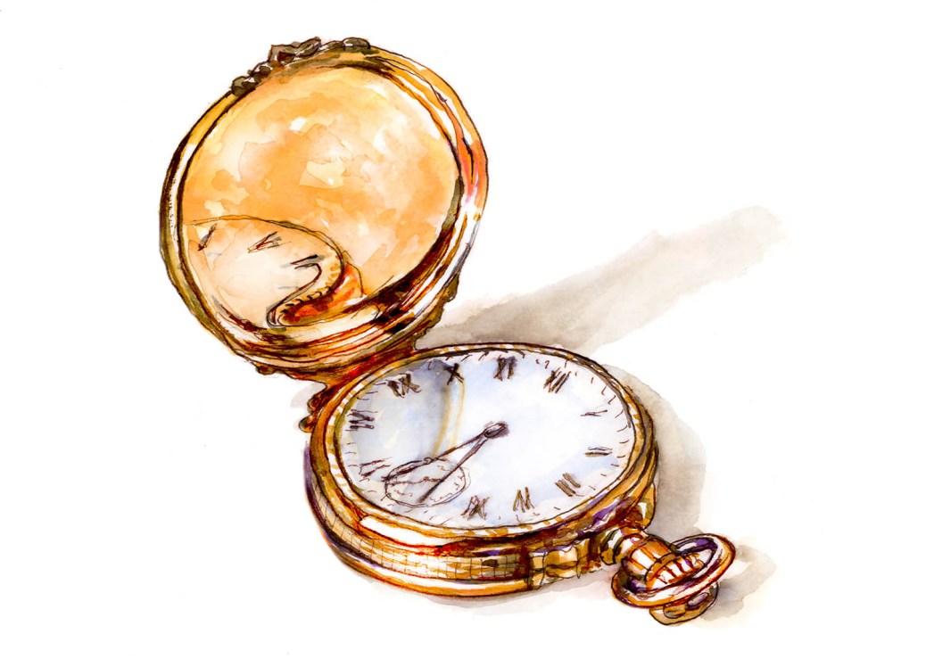 #WorldWatercolorGroup - Day 13 - Pocket Watch Memories - Doodlewash