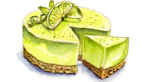 #WorldWatercolorGroup - Day 25 - Dessert Envy_Key Lime Pie - Doodlewash