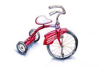 #WorldWatercolorGroup - Day 28 - My First Bike - Red Vintage Tricycle - Doodlewash