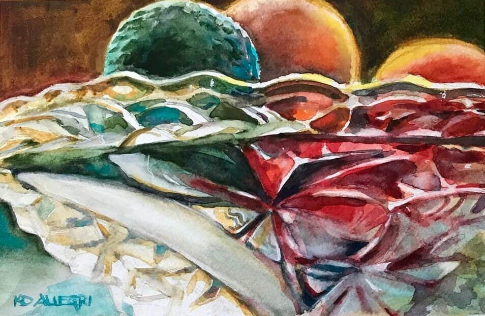 #happythings I didn't have masking fluid to retain white paper for my crystal bowl paintings,