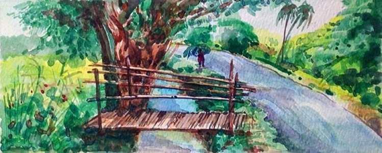 Landscape Watercolor on HM paper Landscape 101mm x 248mm