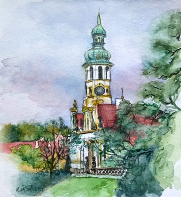 The Loreto Church bell tower, Prague, small sketch from a photo Loreta Church