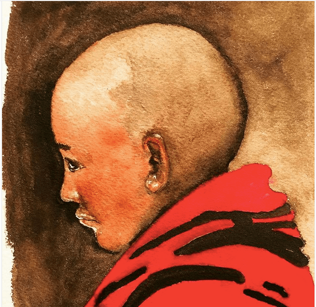 This is a monk I photographed three years ago in Shigatse. I enjoyed painting him, but lost steam wh