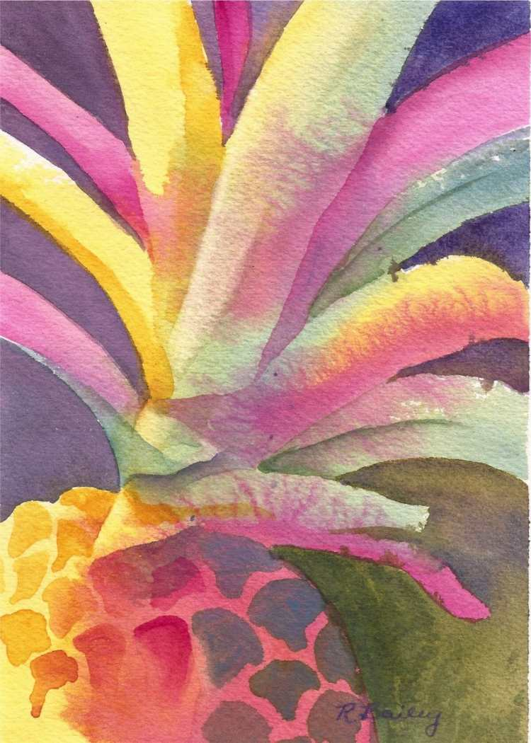 A colorful interpretation of a pineapple. Like Charlie, these exaggerated colors make me happy! Trop