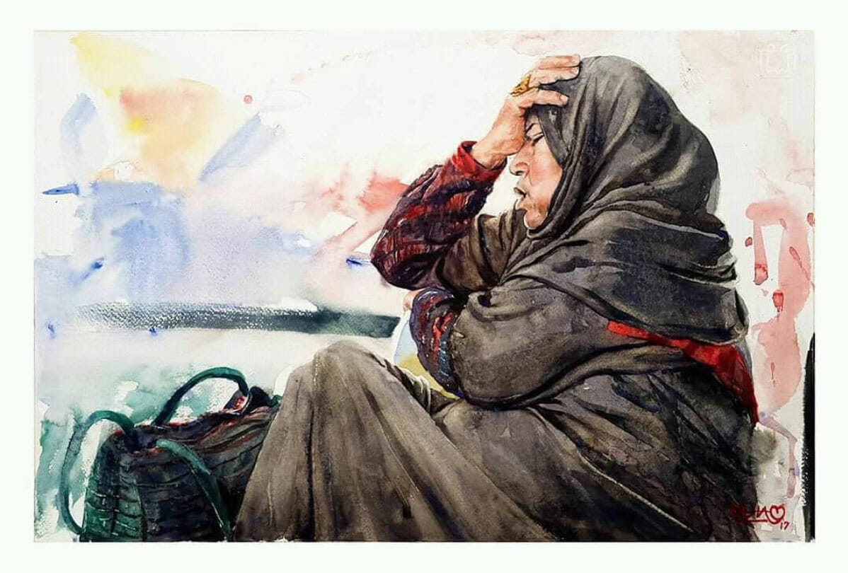 #WorldWatercolorGroup - Watercolor painting by Mahboob Raja 'Elham' - Doodlewash