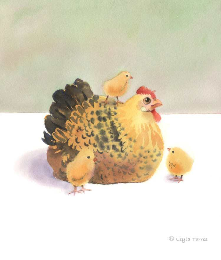You can see a video of my painting this hen and chickens on my Instagram account. It shows sections