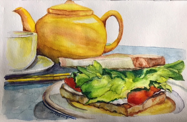 Tea and a sandwich, anyone? (Just don't ask me to paint lettuce again!) 5×8 inch sketchbo