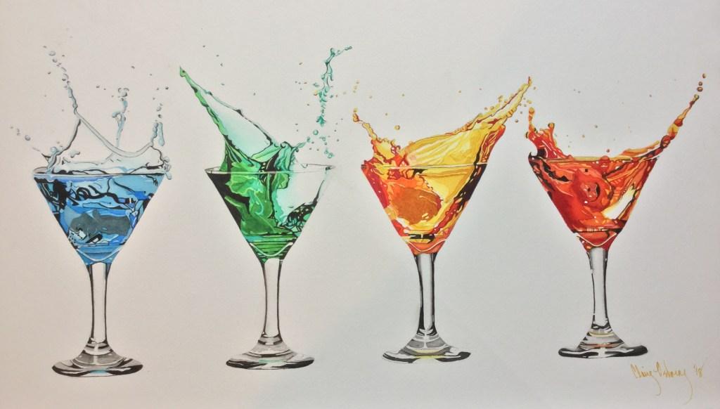 "Original Watercolor ""Martini Rainbow"" Arches 140# CP stretched 14""x23"" 88983A60-6506-4FAC-BB"