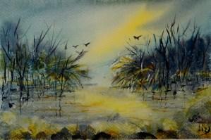 Lake Scenery Landscape watercolor 17x24cm _DSC3469