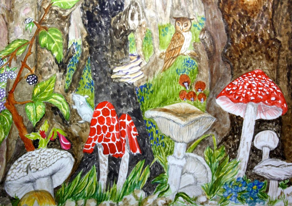 #WorldWatercolorGroup FEB CHALLENGE DAY 17 Just a bit of FUN IN THE FOREST MUSHROOMS FUN IN THE FORE