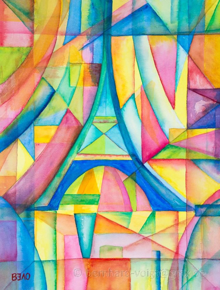 Eiffelturm (Lasuren – inspiriert von Robert Delauny) Aquarell, Büttenpapier, fein, 31cm x 41c