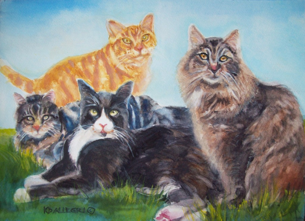 Les' Cats, Watercolor. A friend commissioned me to paint the family pets, a couple of whom had