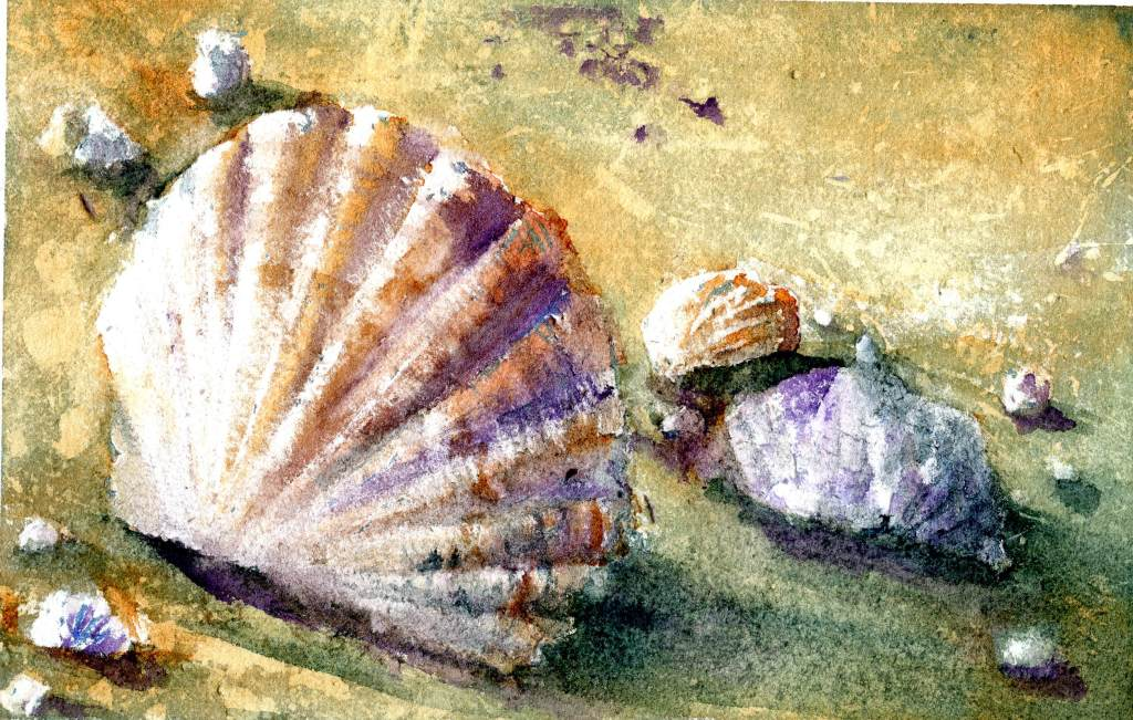 Shells – A bit late, but the technique took even more time than I expected. I was splattering