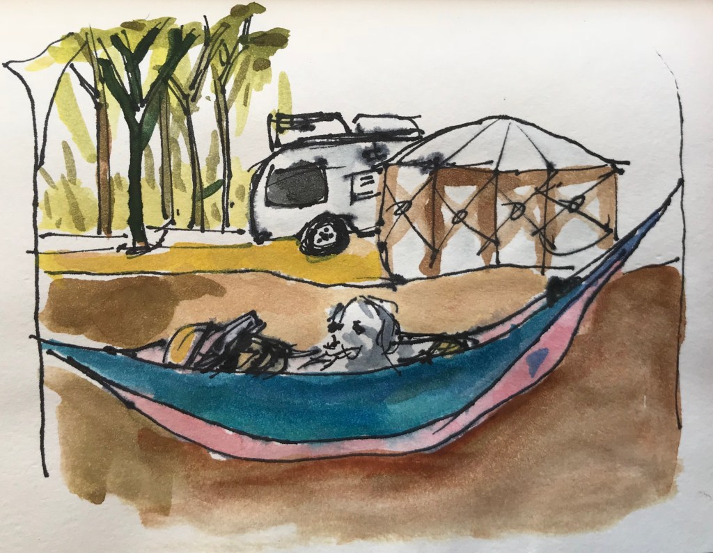 My first ink and watercolor painting ever. Camping with my wife and doggie a couple weeks ago.019BB4