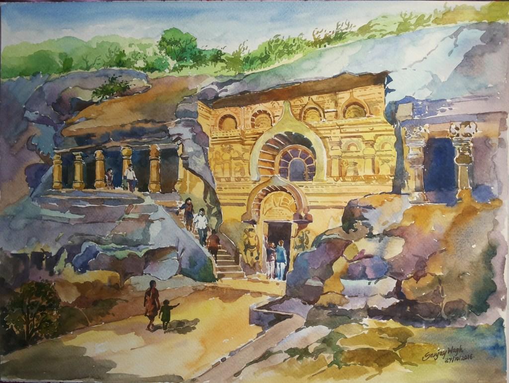 Water color on paper!! Pandavleni Caves Nashik, India 20161029_135818