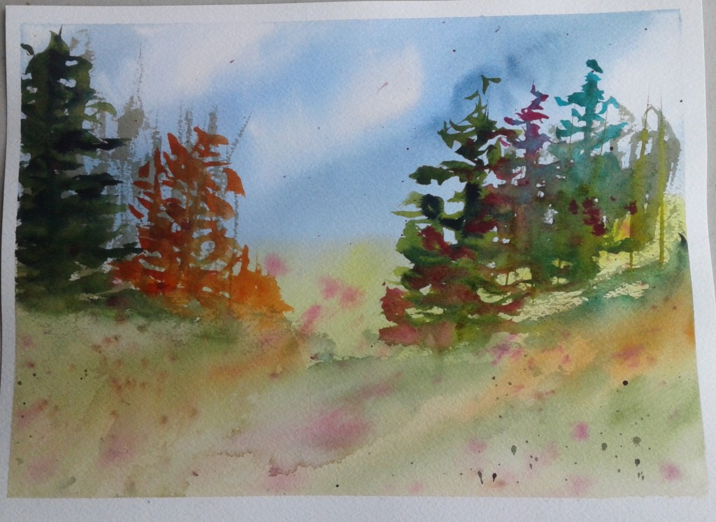 """Day 243…simple After considerable thought, I decided to paint a """"simple"""" landscape"""