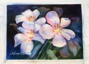 "Lilies, negative painting, 9"" by 12"", 300 lb. cold press 910BC2B3-1AD5-4C5E-B0B8-9E6035B690C5"