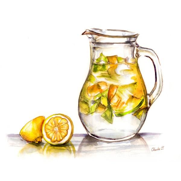 A Drink of Spring Citrus Fruit Lemonade Watercolor Print