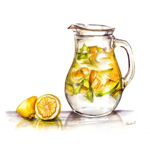 A Drink of Spring Citrus Fruit Lemonade Watercolor Print