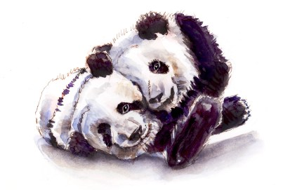 #WorldWatercolorGroup - Day 14 - Giant Panda Love - Doodlewash