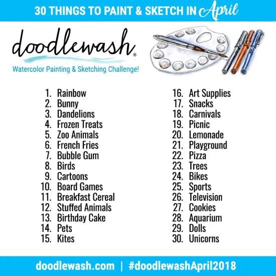 Doodlewash April 2018 Art Challenge Prompts