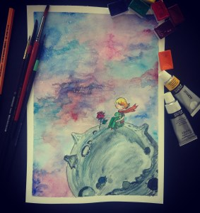 """The little prince, watercolor on paper (297*210mm, 300g/m2). Inspired by this quote 🙂 \""""Men"""