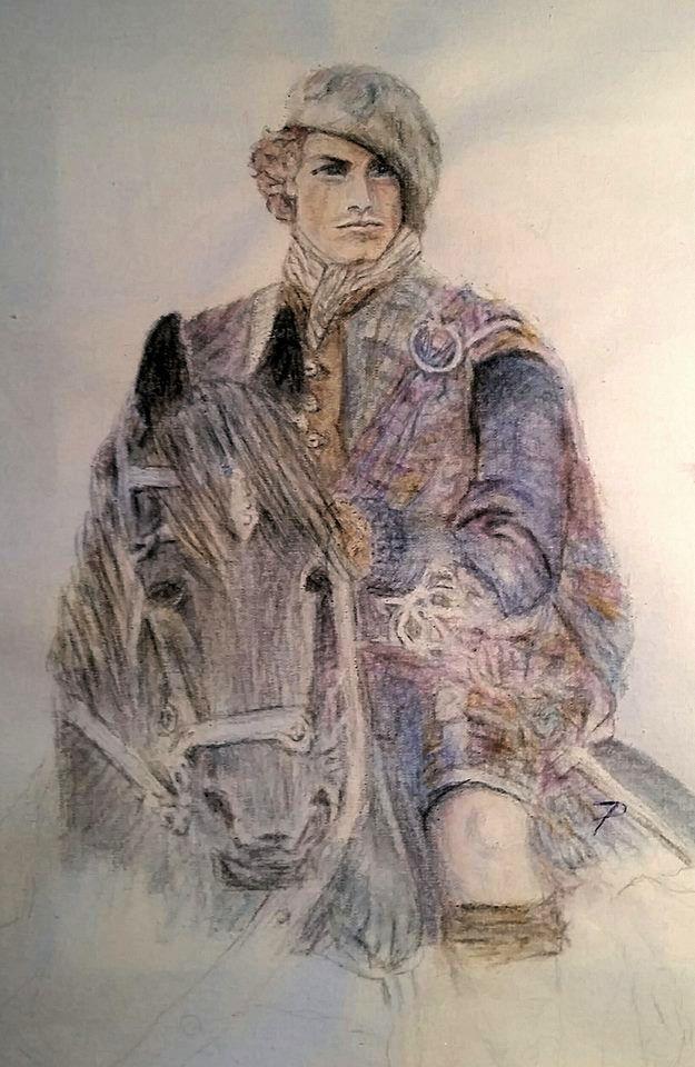 Jamie Fraser – Outlander – wc pencil on canvas